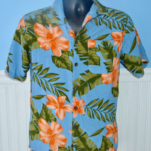 Hawaiian Shirt Shirt Blue Petals Tropical Green